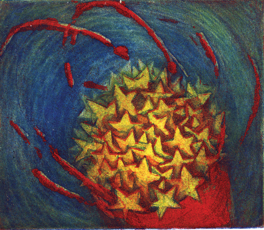 "Bucket of Stars, 6 x 7"", Three plate etching, 2004"