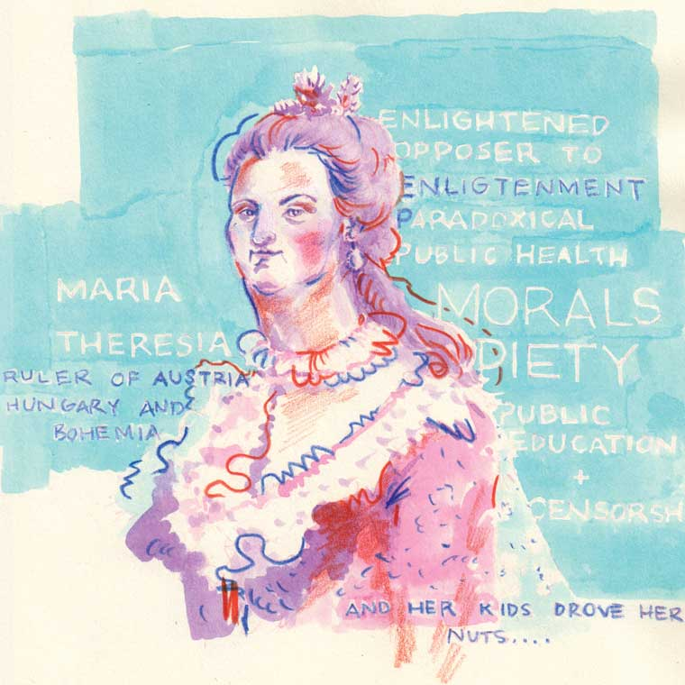 Maria Theresia for Inktober 2017  Watercolour Ink + Colour Pencil