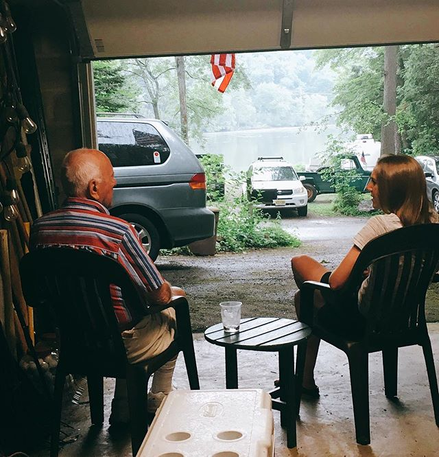 """The last time I saw him and the last thing he said to me was here. It was this. At our lake, in the garage waiting out the rain we seem to get every Fourth of July. """"Have a good life, kid."""" I've been """"kid"""" to him as long as I can remember—at 8 and even 28. Life really is so good right now and I'll make sure to keep it that way, grandpa. Promise. I miss you already 🙏🏻❤️ @cprice63017, I cant thank you enough for this photo."""
