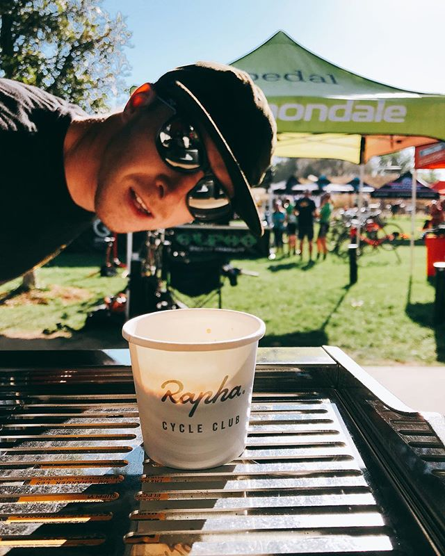 This lunatic is slinging shots for the shredders today 🤘🏻 #coffeewatts #crossisboss #cyclocross
