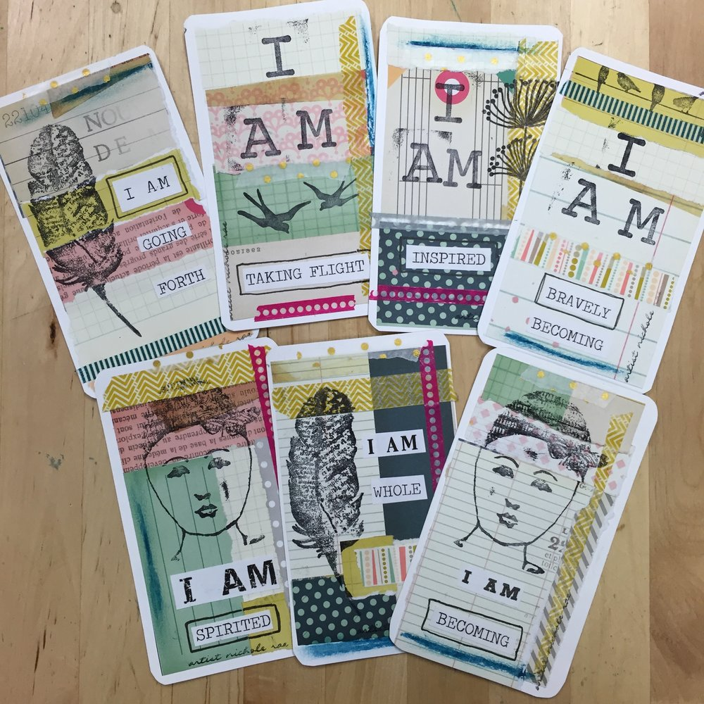 I AM AFFIRMATION CARD DECK - Cultivate your creative spirit through art journaling + affirmations to create your own unique I AM affirmation card deck to use part of your daily practice and continue this creative practice at home. Supply Kit Included.DETAILS2 HOURS | $35  PER PERSON | INCLUDES ALL SUPPLIESPRIVATE WORKSHOP: MIN: 5 GUESTSWORKSHOP CAPACITY @ MY STUDIO: 6OFF SITE LOCATION:  UP TO 30 GUESTS  LARGER GROUPS  CAN BE ACCOMMODATED