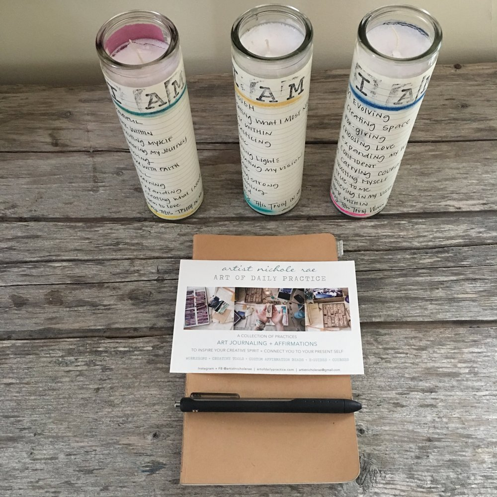 I AM AFFIRMATION CANDLE + JOURNALING PRACTICE - Create What You Most Need To Find + unfold into A Practice of Affirmation. Together we will practice the Art of Daily Practice's Foundational I AM affirmation journaling + create an affirmation candle to