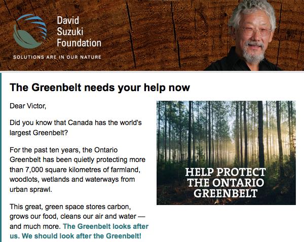 David Suzuki greenbelt