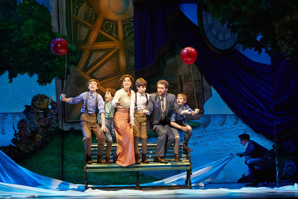 Finding Neverland (c)Carol Rosegg    (L-R) Sawyer Nunes, Alex Dreier, Laura Michelle Kelly, Aidan Gemme, Matthew Morrison, Christopher Paul Richards