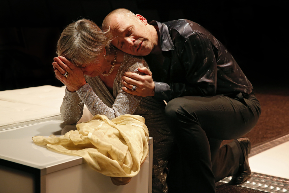 Penelope Allen and Peter Sarsgaard in the Classic Stage Company production of HAMLET. Photo by Carol Rosegg