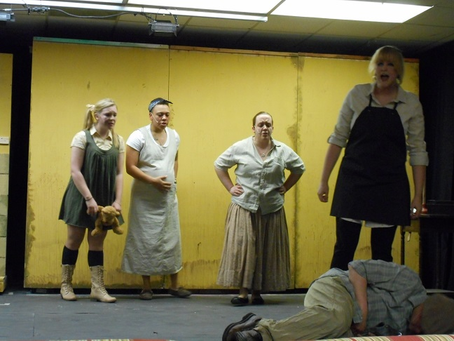Members of the cast of 'Urinetown' at Post University All photos by Nancy Sasso Janis