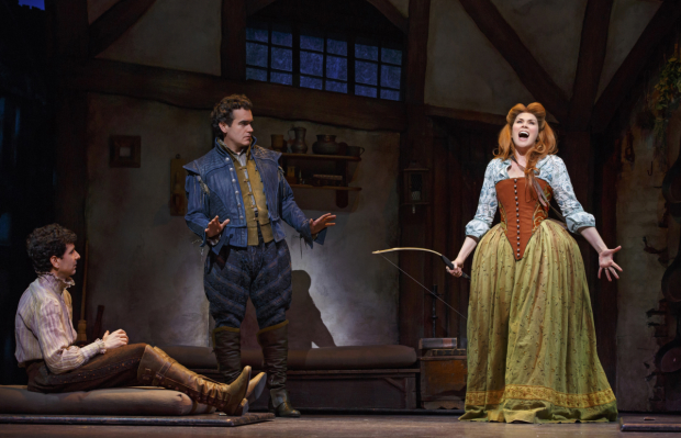 John Cariani, Brian d'Arcy James, and Heidi Blickenstaff in a scene from the new Broadway musical Something Rotten! (© Joan Marcus)