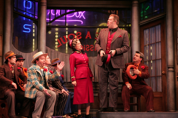General Matilda B Cartwright (Karen Murphy),  Big Jule (Jerry Gallagher) and the cast of Goodspeed Musicals' Guys and Dolls now playing at the Goodspeed Opera House through June 20. Photo Credit © Photo by Diane Sobolewski