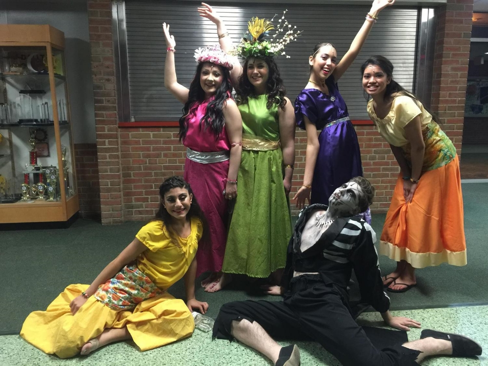 Members of the cast of 'Once on This Island' at Wolcott High School Photo by Carol Alex Dube