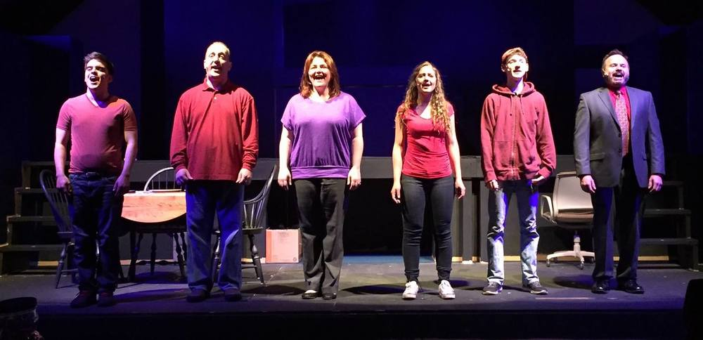 Pictured: The cast of 'Next to Normal' (from left) Robert Thomas Halliwell, Chuck Stango, Juliette Garrison Koch, Maren Burling, Ryan Gaynor and John Capasso. Photo courtesy of Two Planks Theater Company