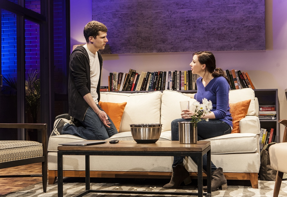 Pictured: Jesse Eisenberg & Erin Darke in The New Group production, The Spoils, a new play by Jesse Eisenberg, directed by Scott Elliott. A limited Off-Broadway engagement plays through June 28 at The Pershing Square Signature Center. For more, please visit www.thenewgroup.org. PHOTO CREDIT: Monique Carboni.