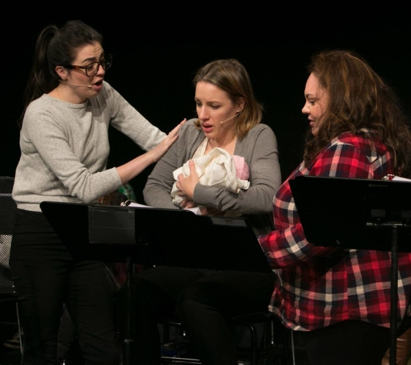 Barrett Wilbert Weed, Jessie Mueller, and Keala Settle in the reading of Waitress. (© Jimmy Ryan)