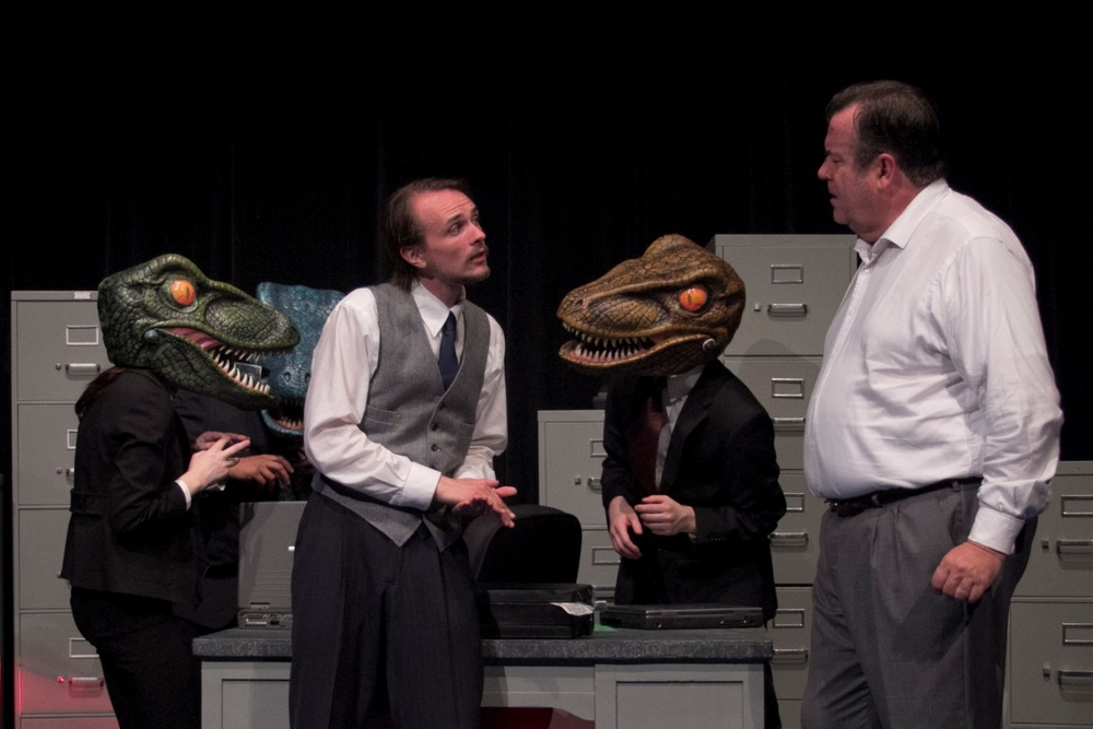 From L to R - Delaney Wilbur, Nathan Rumney, Ryan Wantroba and Johnson Flucker in ENRON at Hole in the Wall Theater - July 2015