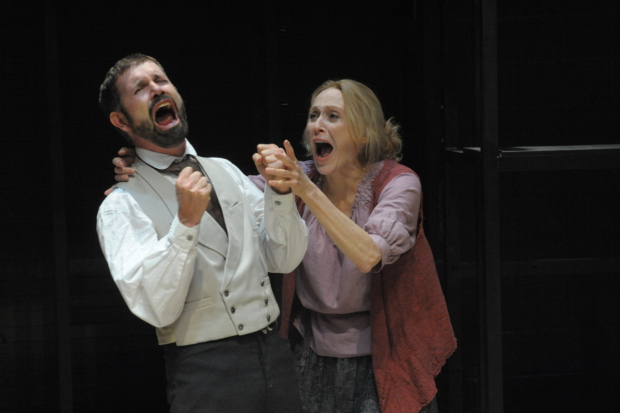"David Barlow (Carpeta) and Jan Maxwell (Galactia) in Howard Barker's ""Scenes From an Execution"" - Photo by Stan Barouh"