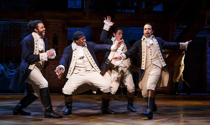 Daveed Diggs, Okieriete-Onaodowan, Anthony-Ramos and Lin-Manuel Miranda (Photo: Joan Marcus)
