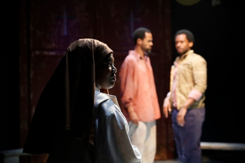 L-R: Heather Alicia Simms, Danyon Davis and Joshua David Robinson in SENSE OF AN ENDING at 59E59 Theaters. Photo by Carol Rosegg