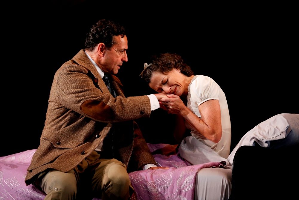 "L-R:   Stephen Schnetzer and Felicity Jones in ""Broken Glass,"" written by Arthur Miller and directed by Mark Lamos, at Westport Country Playhouse, now playing through October 24.  (203) 227-4177.  www.westportplayhouse.org      Photo by Carol Rosegg"