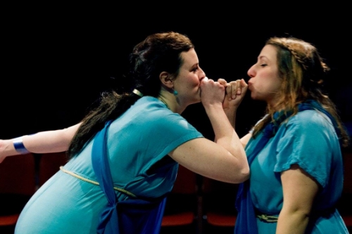 From Left to Right: Bridgette Hayes (Procne) & Lauren Elias (Philomele) courtesy The Hub Theatre Company