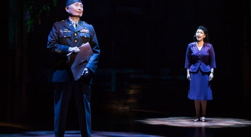 "George Takei and Lea Salonga in ""Allegiance: A New American Musical"" on Broadway. — Matthew Murphy"
