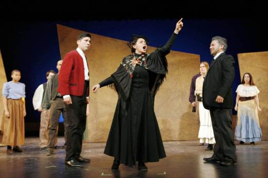 Blood Wedding: From L – The Bridegroom (Ivan Jasso), The Madre (Frida Espinosa-Muller), Leonardo's Wife (Caroline Dubberly), The Padre (Rodney Garza). Ben Torres photo.