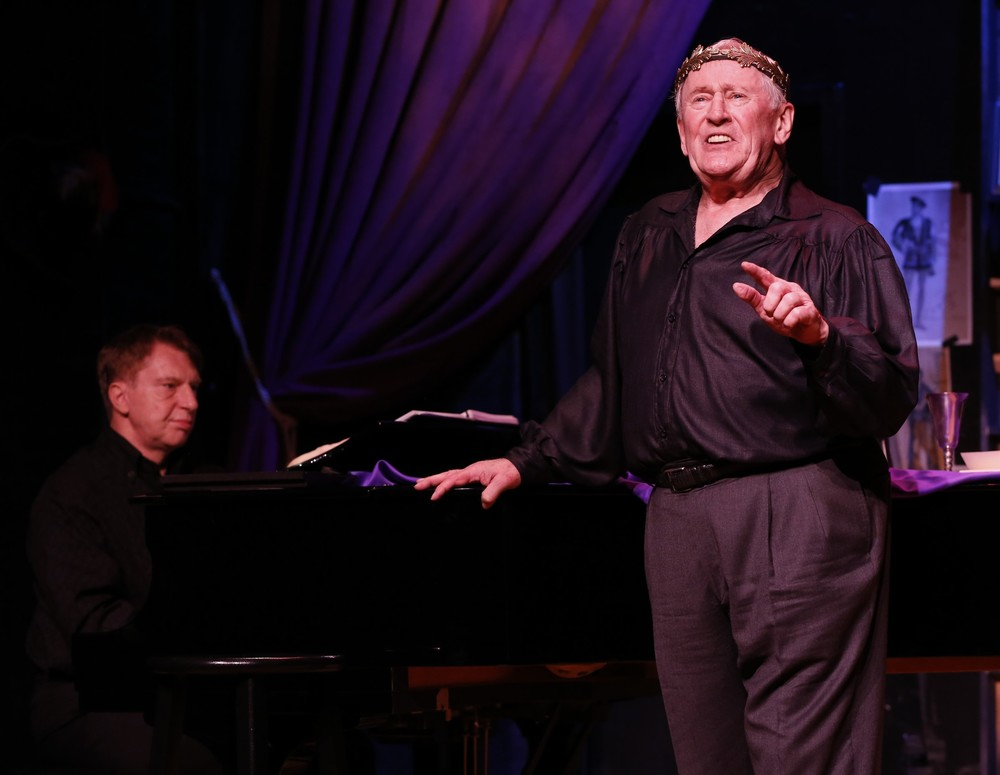 With Mark Janas at the piano, Tony Award-winning actor Len Cariou stars in the Amas Musical Theatre World Premiere production of Broadway and The Bard, an evening of Shakespeare & song, presented in association with Alan Siegel Entertainment.  The limited six-week engagement continues through March 6, 2016 at the Lion Theatre at Theatre Row.  Photo credit:  Carol Rosegg.