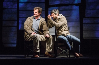 (from left) Michael Cumpsty and Michael Crane in the Primary Stages production of The Body of an American by Dan O'Brien, directed by Jo Bonney at Primary Stages at the Cherry Lane Theatre. (c) James Leynse