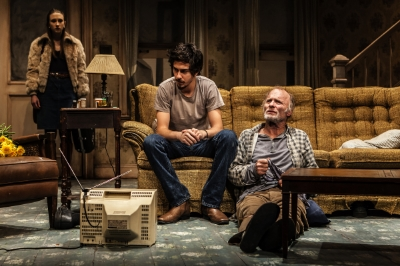"Taissa Farmiga, Nat Wolff, Ed Harris in Sam Shepard's ""Buried Child,"" directed by Scott Elliott, Off-Broadway at The New Group. Photo credit: Monique Carboni. www.thenewgroup.org."