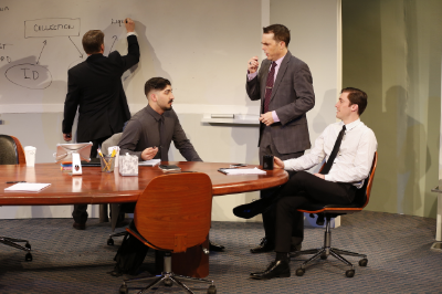 L-R: Michael Ray Wisely, Jason Kapoor, Mark Anderson Phillips, and Ben Euphrat in IDEATION at 59E59 Theaters. Photo by Carol Rosegg