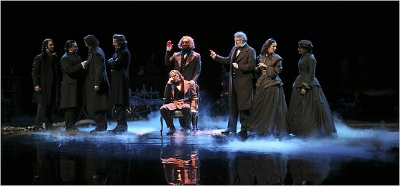 "Brian F. O'Byrne, seated, as Alexander Herzen, in a scene from ""Salvage,"" the third part of Tom Stoppard's trilogy, ""The Coast of Utopia."" Credit Sara Krulwich/The New York Times"