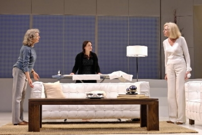 Matilde (Ursula Cataan, center) and Lane (Patricia Hodges, right) discuss the day's events in the Cleveland Play House production of The Clean House.
