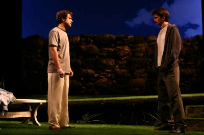 Ron Livingston and Frederick Weller in In a Dark, Dark House (© Joan Marcus