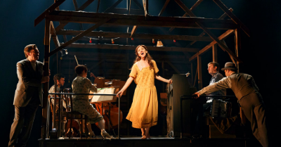 "Photo: Carmen Cusack and the ""Bright Star"" Company. Credit Nick Stokes."