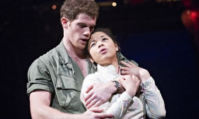 Alistair Brammer (Chris) and Eva Noblezada (Kim) in Miss Saigon at the Prince Edward theatre. Photograph: Tristram Kenton for the Guardian