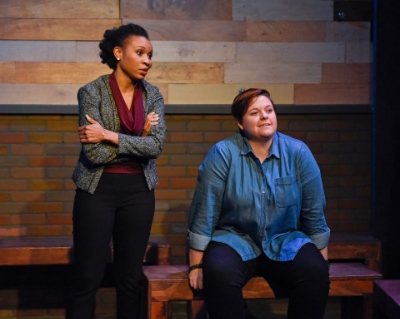Kenneisha Thompson and Kelsey Leigh Ervi in BRIGHT HALF LIFE. Photo: WaterTower Theatre
