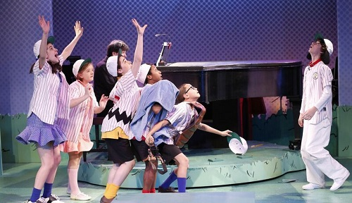 "The ""Peanut""Gang (Left to Right):Mavis Simpson-Ernst as Lucy, Milly Shapiro as Sally, Joshua Colleyas Charlie Brown,Jeremy T. Villas as Linus, Gregory Diazas Schroeder, andAiden Gemme as Snoopy.Photo credit:  Carol Rosegg."