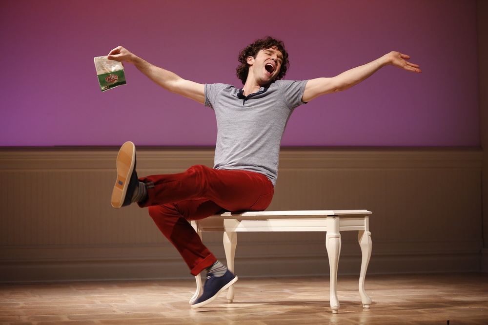 "MICHAEL URIE IN ""BUYER & CELLAR,"" WRITTEN BY JONATHAN TOLINS, AND DIRECTED BY STEPHEN BRACKETT, AT WESTPORT COUNTRY PLAYHOUSE, NOW PLAYING THROUGH JULY 3.  (203) 227-4177.  WWW.WESTPORTPLAYHOUSE.ORG      PHOTO BY CAROL ROSEGG"