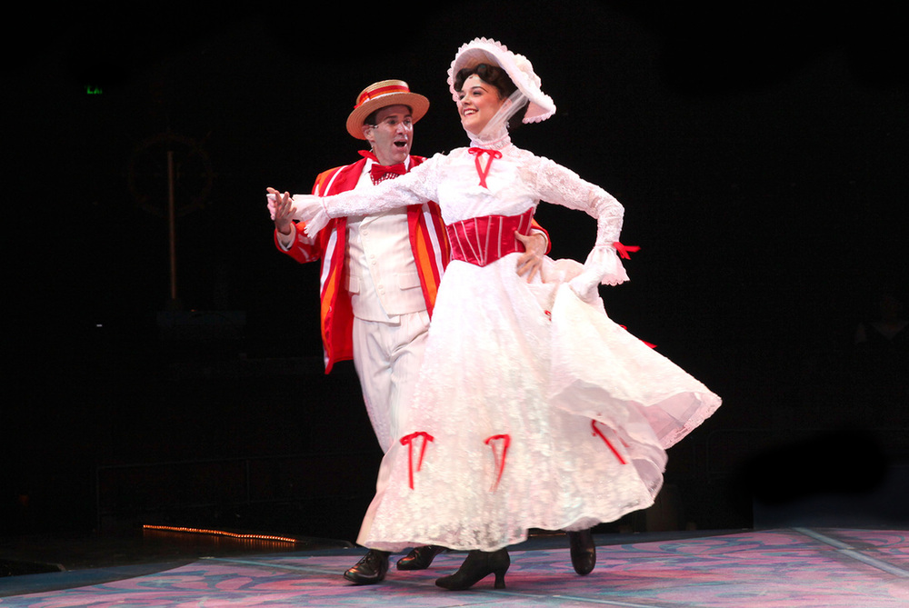Brad Bradley (Bert) and Kerry Conte (Mary Poppins) in North Shore Music Theatre's production of MARY POPPINS playing July 12 - July 31, 2016. Photo © Paul Lyden.