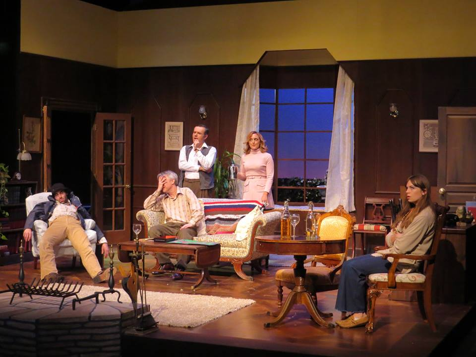 From Left to Right-Nicholas Wilder, Richard Brundage, Jason Plourde, Molly Parker Myers, & Rebecca Tucker. Photo courtesy The Winnipesaukee Playhouse
