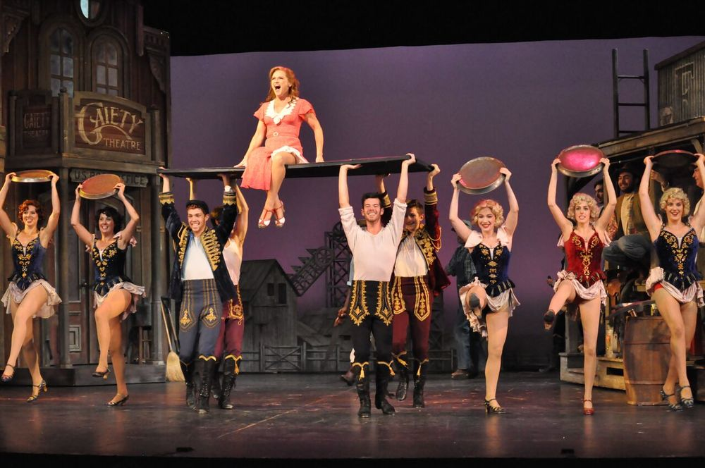 "Beverly Ward as Polly Baker (center) and ensemble perform ""I Got Rhythm"". Courtesy Reagle Music Theatre/©Herb Philpott"
