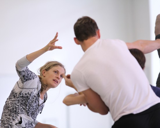 Choreographer Crystal Pite in rehearsal with Pacific Northwest Ballet company dancers. Credit: Photo: Lindsay Thomas