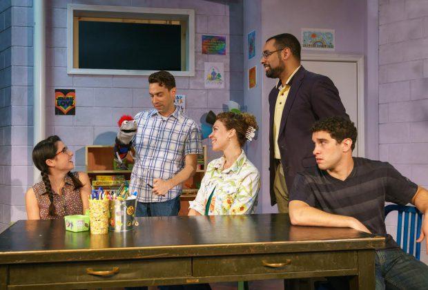 Hand_To_God_1: (From left) Jessica (Montana Lampert Hoover), Jason with Tyrone (Karl Gregory), Margery (Erica Steinhagen), Pastor Greg (Aundre Seals), and Timothy (Michael Patrick Trimm) (photo credit: Dave Burbank)