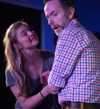 """Sara Hogrefe as Mathilde Schiller and Spencer Aste as her father Manfred Schiller in Howard Meyer's """"Maybe Never Fell,"""" through Nov. 20 at Axial Theatre in Pleasantville. Photo by Lynda Shenkman Curtis"""
