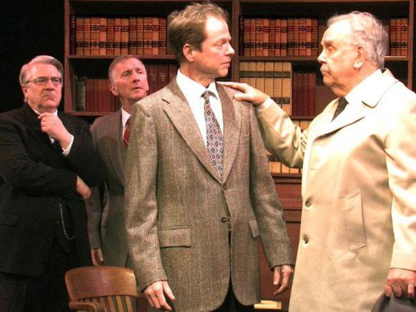 "From left, Barry Hatrick, David Victor, Travis Branch and David Pirrie perform in the Westport Community Theatre's production of Agatha Christie's ""Witness for the Prosecution."" Photo Credit: Contributed"