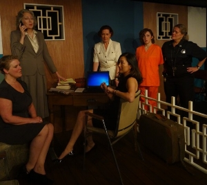 Curtain Call's cast of The DelVal Divas, set in The Delaware Valley Federal Correctional Facility are seen here in an early rehearsal. Seated, left to right, Kate Telfer and Miran Robarts; standing, left to right: Amy Wade. Ann Alford, Rachel Schulte and Brent McKinley. (contributed photo)