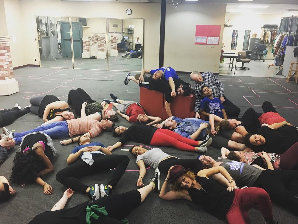 "The cast is ""dead tired"" after a long week of staging."""