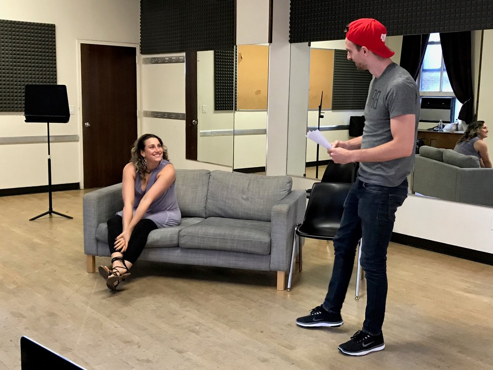"Natalie Weiss and Steven G. Douglas in rehearsals for ""Ghost: The Musical"" at White Plains Performing Arts Center"