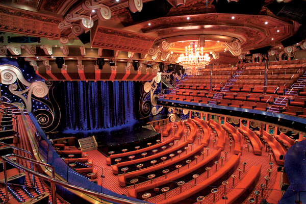 The Victoriana Main Show Lounge aboard Carnival Freedom. Photo courtesy of Carnival Cruise Lines.
