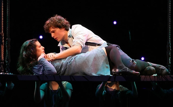 Lea Michele and Jonathan Groff in Spring Awakening.