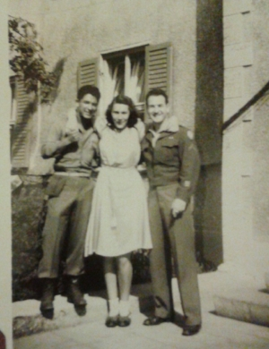 "Here is a German girl (""Gal"") named ""Hanna"" who wanted to get her photo taken with the brave Americans who liberated their town. (remember when I said Louis was too short to join the Navy?)"
