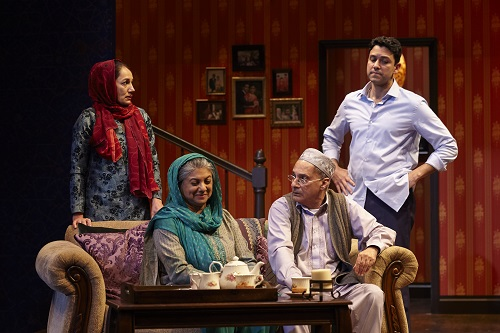 "Photo: Purva Bedi, Rita Wolf, Ranjit Chowdhry, and Sanjit De Silva in ""An Ordinary Muslim."" Credit: Suzi Sadler."
